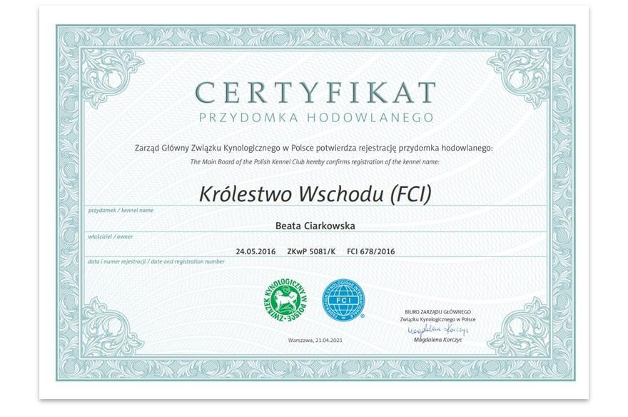 Certyfikat Przydomka Hodowlanego